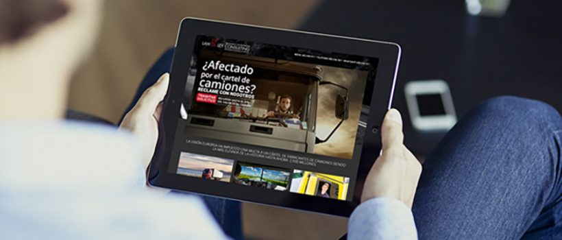 Imagen de la landing del cartel en tablet